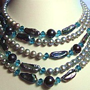 Two Metre Rope Of Cultured Blue Pearls