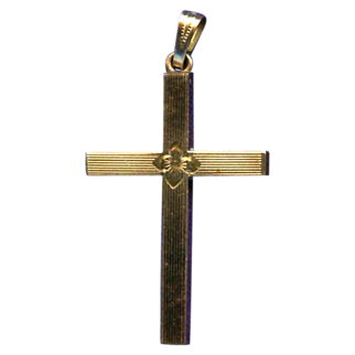 Lovely 12K Gold Filled Cross with Floral Center – Hallmarked Dason
