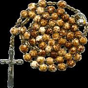"Earthy ""Spongeware"" Vintage Glass Bead Rosary – Roma – 45 Grams"