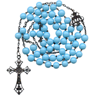 Fabulous French Art Nouveau Silver & Opaque Blue Glass Rosary – Black Patina