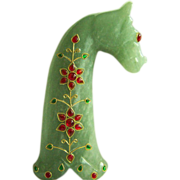 SALE Impressive collectible large vintage Indo Persian jeweled carved nephrite jade horse head dagger handle 317.5 g