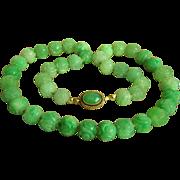 """SALE Rare Vintage Fine 14K Carved Jadeite Jade Necklace 20 1/2""""  81.3 g"""