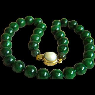 "SALE Amazing Estate Vintage Mottling Deep Green Jade Pearl Clasp Necklace 77.9 g   18"""