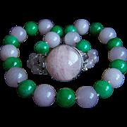 "SALE Amazing Estate Large Rose Quartz & Jade Necklace 20""  Heavy 150.2 g"
