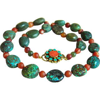 """SALE ONE OF A KIND  Vintage Chinese Natural Turquoise Carnelian Jade Coral Necklace 25.5"""" 118.6 g"""