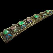 SALE Amazing Very Fine Vintage Chinese Jadeite Jade Tourmaline Cabochon Cloisonne Silver Brooch Pin