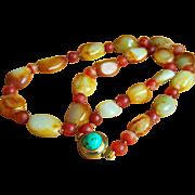 "SALE Fabulous Estate Chinese Hetian Pebble Rustic Red Celadon Mutton Fat Jade Carnelian Agate Necklace 25 1/2""  107 g"