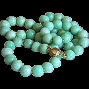 "SALE Stunning 14K Vintage Jadeite Jade Bead Necklace 18 1/4""  42.2 g"