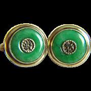 SALE Fabulous Vintage Chinese Silver Jadeite Jade Cuff Links 10.4 g
