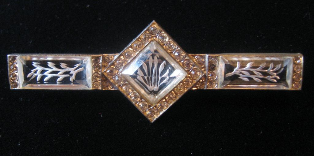 Rare Czechoslovakian Etched Glass and Rhinestone Bar Pin Brooch