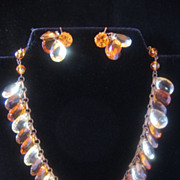 Vintage 1930's  Teardrop Cut Glass and Brass Necklace and Earrings Set