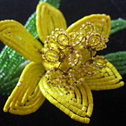 Vintage Large Beaded Yellow Daffodil Brooch-Pin