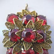 Czech Red Glass and Brass Pendant