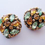 Vintage Signed Barclay Amber and Sea Foam Green Rhinestone Earrings