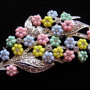 Vintage Pastel Floral and Rhinestone Pin Brooch