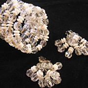 Vintage Crystal and Glass Bead Coil Wrap Bracelet and Waterfall Earrings