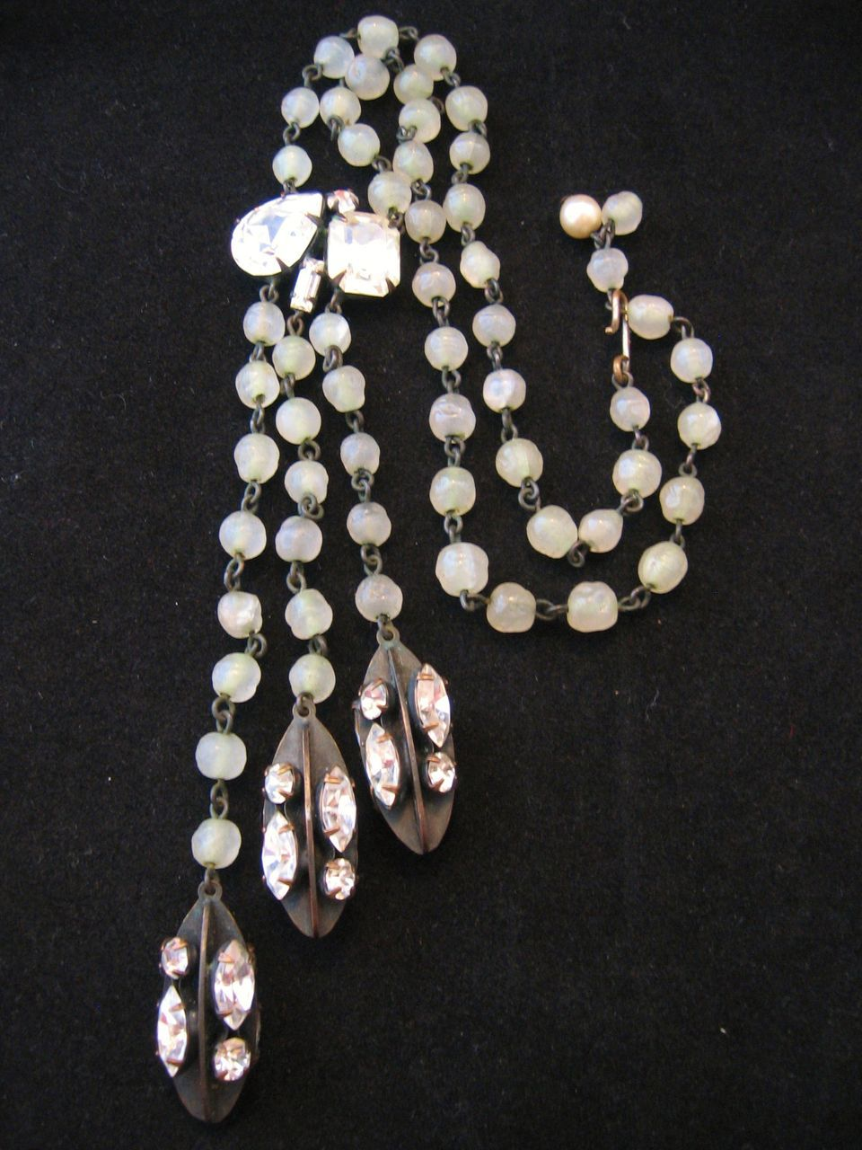 Vintage Deco Mint Green Glass and Rhinestone Drop Necklace