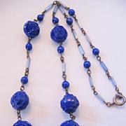 Vintage Art Deco Cobalt Blue Glass Rose Necklace
