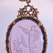 Goldette Intaglio Archer and Horn Player Figures Goldtone Necklace