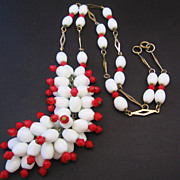 Vintage Flapper Length White and Red Glass Bead Necklace