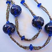 Vintage Art Glass and Seed Bead Cobalt Blue Necklace