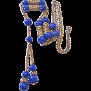 Art Deco  Cobalt Prosser Bead and Brass Sautoir Necklace