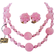 Vintage Coro Pink Swirl Necklace and Earrings Set -Original Card-Hangtag