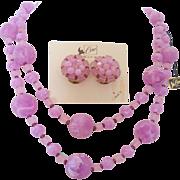 Vintage Coro Purple  Swirl Necklace and Earrings Set -Original Card-Hangtag
