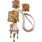 Vintage Amber-Gold and Green Rhinestone Demi Parure-Set