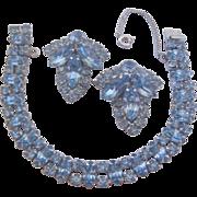 Vintage Ice Blue Rhinestone Line Bracelet and Earrings Set