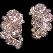 Vintage Weiss Clear Rhinestone Earrings