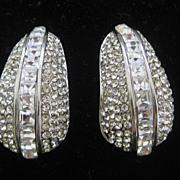 Stunning 1980s Rhinestones Covered Designer Earrings