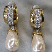 GIVENCHY Rhinestone & Pearl Beautiful Vintage Earrings