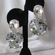 Kenneth Lane Vintage Dangling Glass Heart Earrings