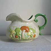 Vintage 1970s Ceramic Pottery Mushroom Beverage Pitcher Orange Green Tan
