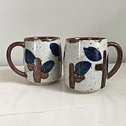 Vintage 1970s Ceramic Coffee Mugs Cups Navy Blue Dark Brown Gray Glaze