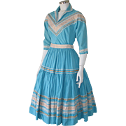 Vintage 1940s 2 Piece Patio Dress Turquoise with White & Gold S M