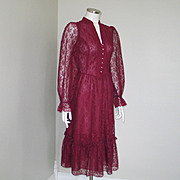 Vintage 1970s Maroon Lace Deep V Neck Fitted Prairie Dress