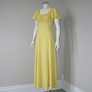 Authentic Vintage 1970s American Designer Holt Renfrew Maxi Dress Yellow Butterfly Scoop XS S