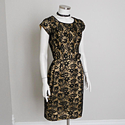 Vintage 1960s Gold Lurex Sheath Party Dress Covered with Beautiful Black Lace