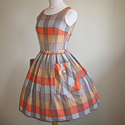 Authentic Vintage 1960s Orange Mocha Plaid Fit n Flare Full Skirt Day Dress XS