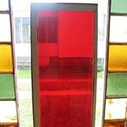 Antique 1800s Midwestern Farmhouse Red Glass Transom Window