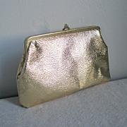Vintage1960s Gold Shiny Clutch Zipper Bottom Purse
