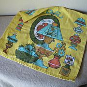Vintage 1970s Linen Towel Yellow Turquoise Orange Avocado Country Style Lamps