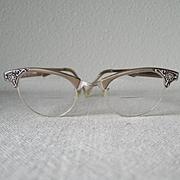Vintage 1960s Artcraft Metallic Browline Eyeglass Frames Eyeglasses with Flower Design