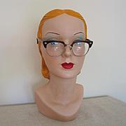 Vintage 1950s Dark Brown Browline Safety Glasses  by B & L Bausch & Lomb