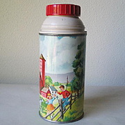 """Vintage """"The American Thermos"""" with Farm Scene Barn Horses Children"""