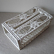 Vintage Woven White Wicker and Wood Tissue Box Cover