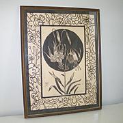 Vintage 1970s Jean McWhorter Columbine Flower Batik Numbered Proof Print Brown Cream