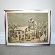 """Vintage Modern Print by Utrillo """"Christmas in Montmartre"""" in Linen Matted Frame"""